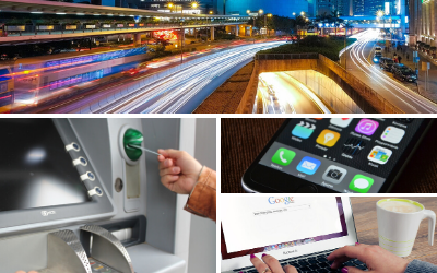 A collage of photos showing a highway, ATM, cell phone and laptop.