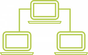 A line graphic of three computers that are connected.